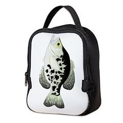 Black Crappie Sunfish fish Neoprene Lunch Bag