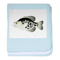 Black Crappie Sunfish fish baby blanket