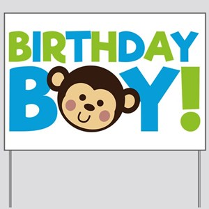 Monkey Birthday Boy Yard Sign