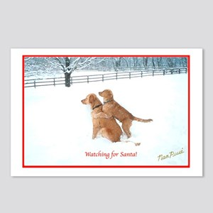 Santa Watching Golden Postcards (Package of 8)