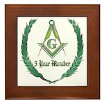 Masonic 5 year member award Framed Tile