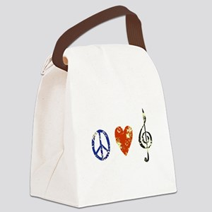 3-peacelovemusicdistressed Canvas Lunch Bag