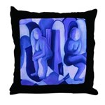 Reflections Blue II Abstract Angels Throw Pillow