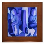 Reflections Blue II Abstract Angels Framed Tile