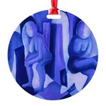 Reflections Blue II Abstract Angels Round Ornament