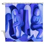 Reflections Blue II Abstract Angels Shower Curtain