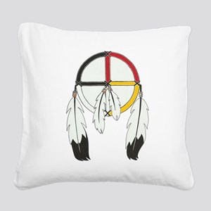 Feathered Medicine Wheel Square Canvas Pillow