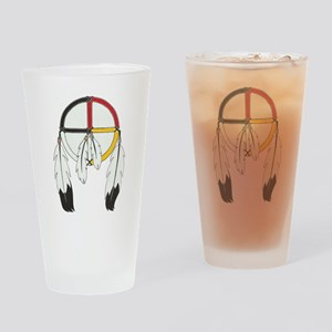 Feathered Medicine Wheel Drinking Glass