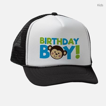 Monkey Birthday Boy Kids Trucker Hat