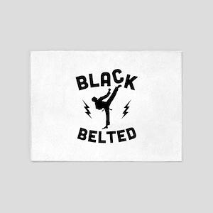 Black Belted 5'x7'Area Rug