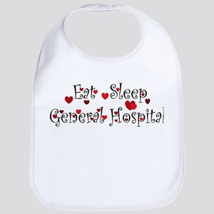 General Hospital heart eat sleep large Bib