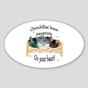 Chin Pawprints Oval Sticker