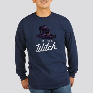 Halloween I'm His Witch Long Sleeve Dark T-Shirt