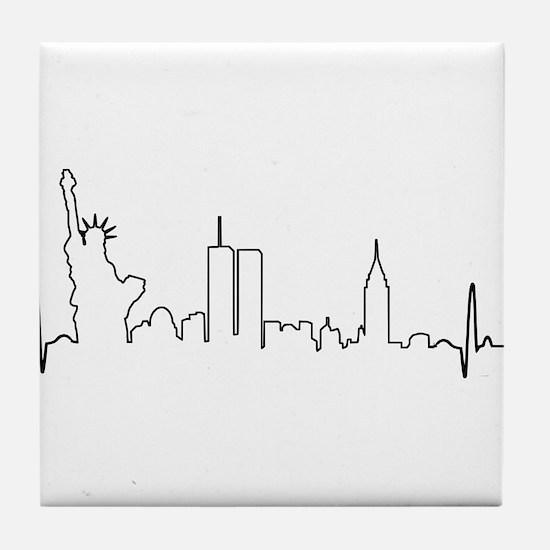 New York Heartbeat Tile Coaster