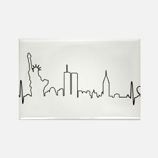 New York Heartbeat (Heart) Rectangle Magnet