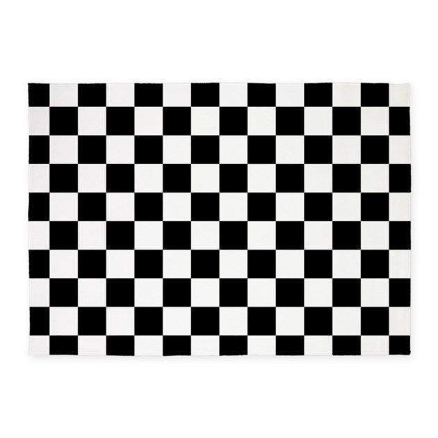 Checkered Flag Rug: Black And White Checkerboard 5'x7'Area Rug By