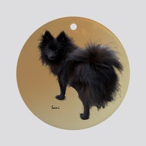 Black Pomeranian Ornament (Round)