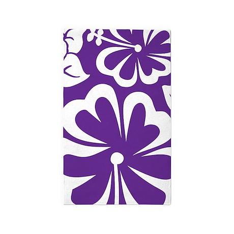 Tropical flowers purple 3'x5' Area Rug