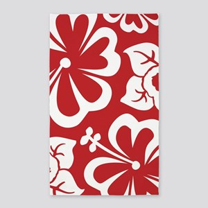 Tropical flowers - red 3'x5' Area Rug