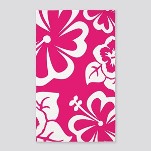 Tropical floral hot pink 3'x5' Area Rug