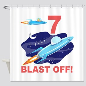 Outer Space 7th Birthday Shower Curtain