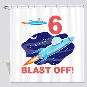 Outer Space 6th Birthday Shower Curtain