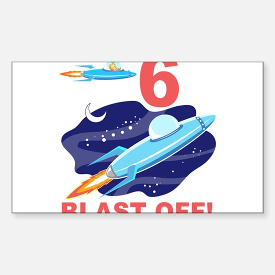 Outer Space 6th Birthday Sticker (Rectangle)