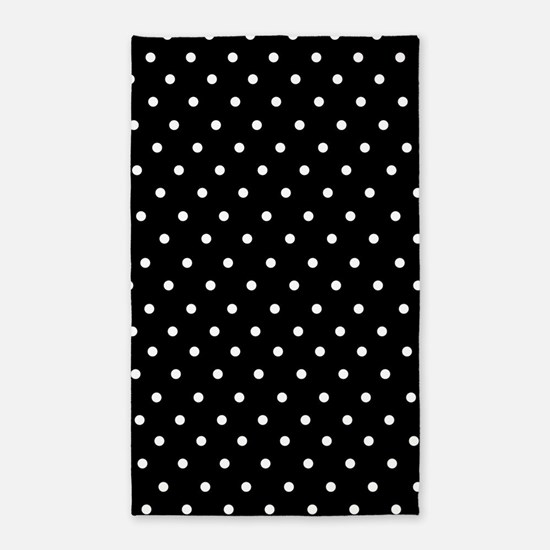 Black and white polka dot 3'x5' Area Rug