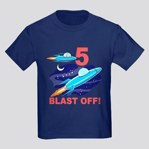 Outer Space 5th Birthday Kids Dark T-Shirt