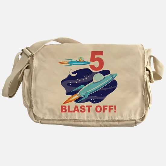 Outer Space 5th Birthday Messenger Bag