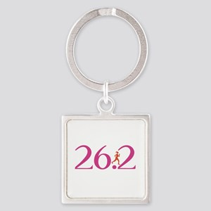 26.2 Marathon Run Like A Girl Square Keychain