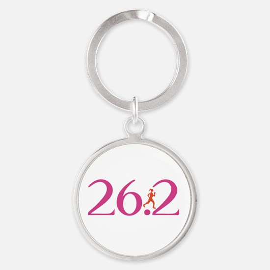 26.2 Marathon Run Like A Girl Round Keychain