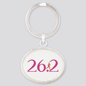 26.2 Marathon Run Like A Girl Oval Keychain