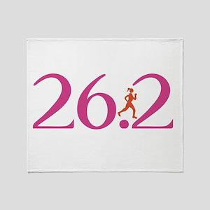 26.2 Marathon Run Like A Girl Throw Blanket