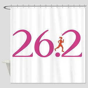 26.2 Marathon Run Like A Girl Shower Curtain