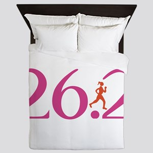 26.2 Marathon Run Like A Girl Queen Duvet