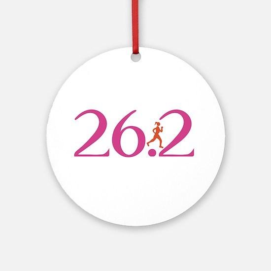 26.2 Marathon Run Like A Girl Ornament (Round)