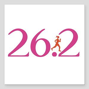 """26.2 Marathon Run Like A Girl Square Car Magnet 3"""""""