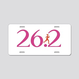 26.2 Marathon Run Like A Girl Aluminum License Pla