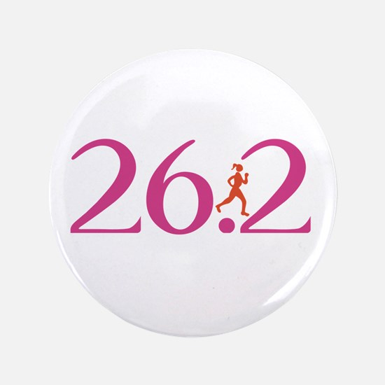 "26.2 Marathon Run Like A Girl 3.5"" Button (100 pac"