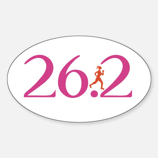 26.2 Marathon Run Like A Girl Sticker (Oval)