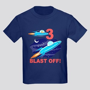 Outer Space 3rd Birthday Kids Dark T-Shirt