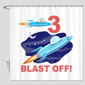 Outer Space 3rd Birthday Shower Curtain