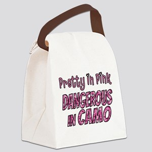 Pretty in Pink, Dangerous in camo Canvas Lunch Bag