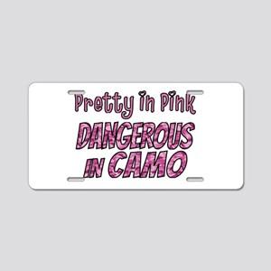 Pretty in Pink, Dangerous in camo Aluminum License