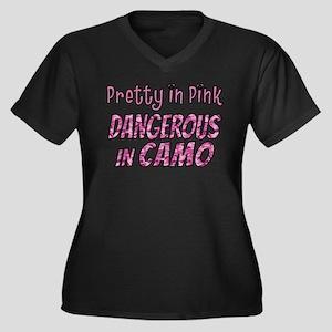Pretty in Pink, Dangerous in camo Plus Size T-Shir