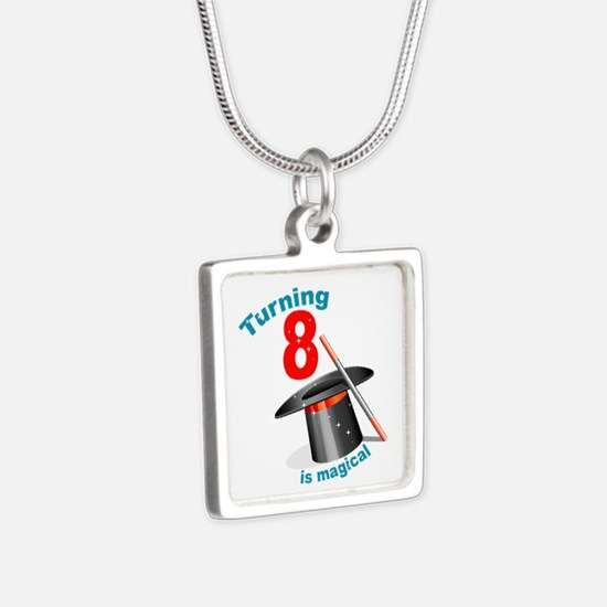 Magic Party 8th Birthday Silver Square Necklace
