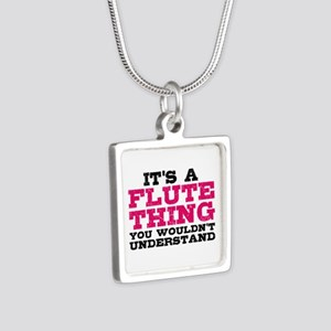 It's a Flute Thing Silver Square Necklace