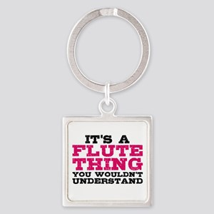 It's a Flute Thing Square Keychain