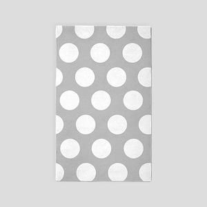 dd156f46da6ee Grey large polka dot 3 x5  Area Rug